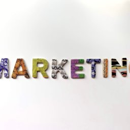 Marketing spelled out in colorful letters.